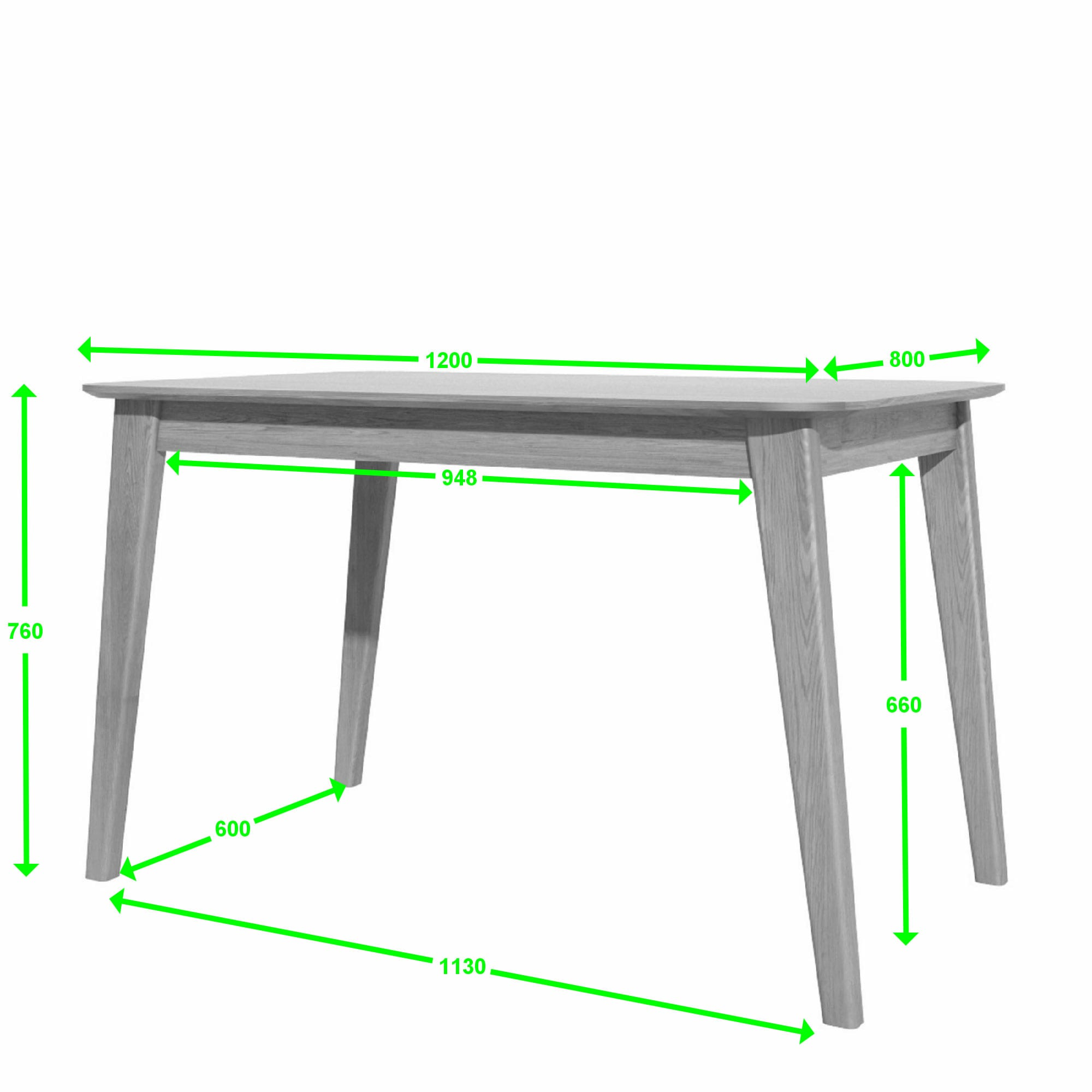 SCA1250T Scandic dining table 125x800 measures