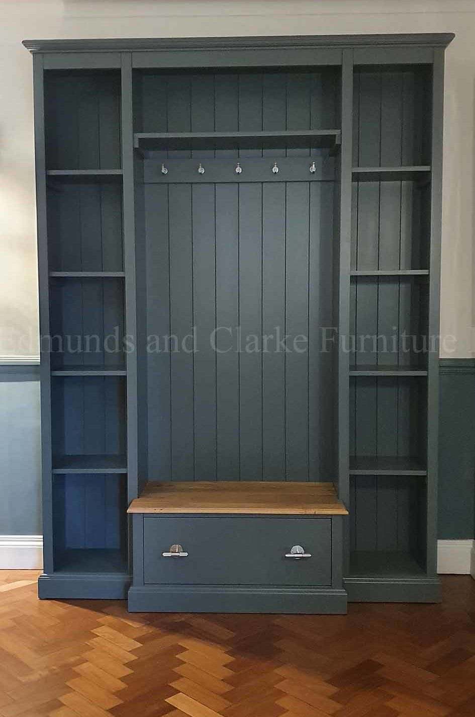 Painted hallway shelving and shoe storage with large drawer