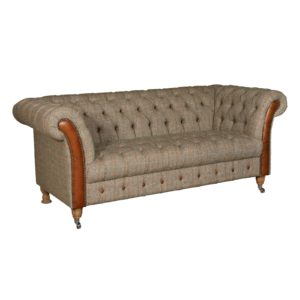 Chester 2 seater sofa hunting lodge with cerato leather trim