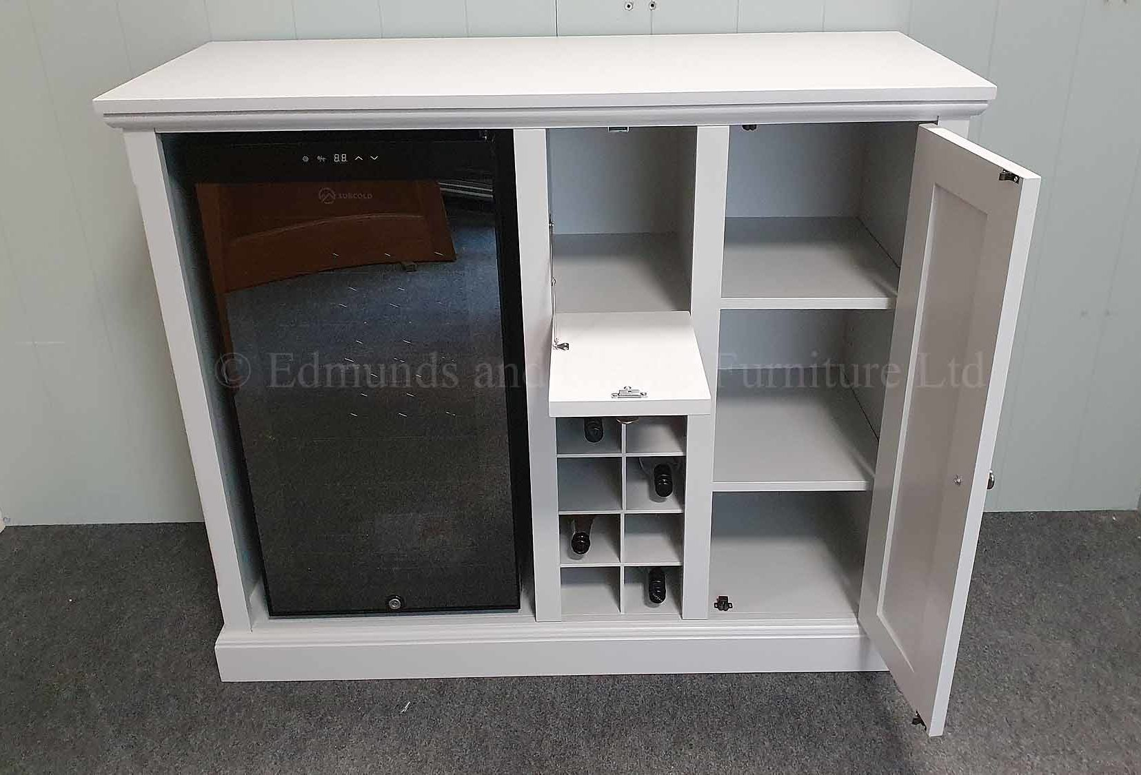 grey painted sideboard with drinks fridge included