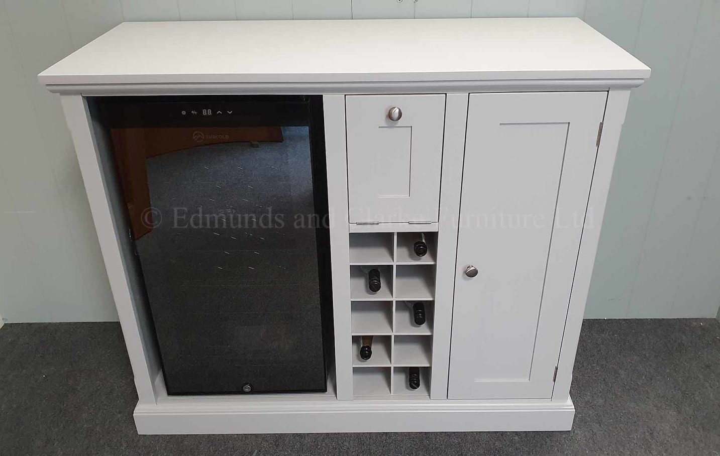 Painted drinks sideboard with wine cooler, painted grey including top