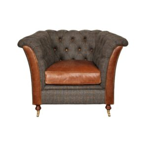 Granby arm chair moreland tweed and leather