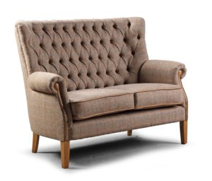 Hexham 2 seater sofa harris tweed cerato leather trimmings