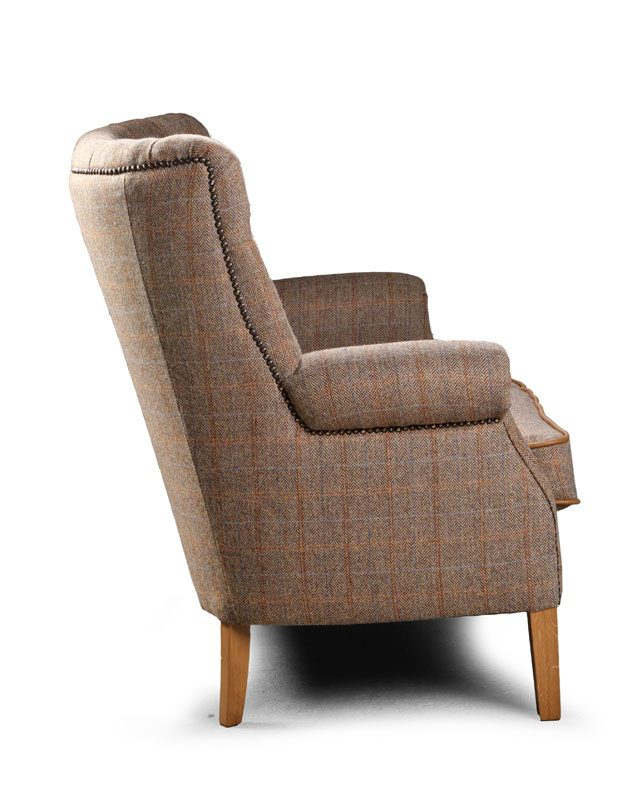 Hexham 2 seater sofa cerato leather and harris tweed