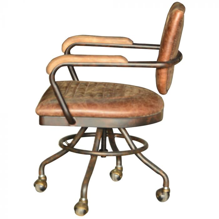Mustang leather office chair in brown with metal wheels