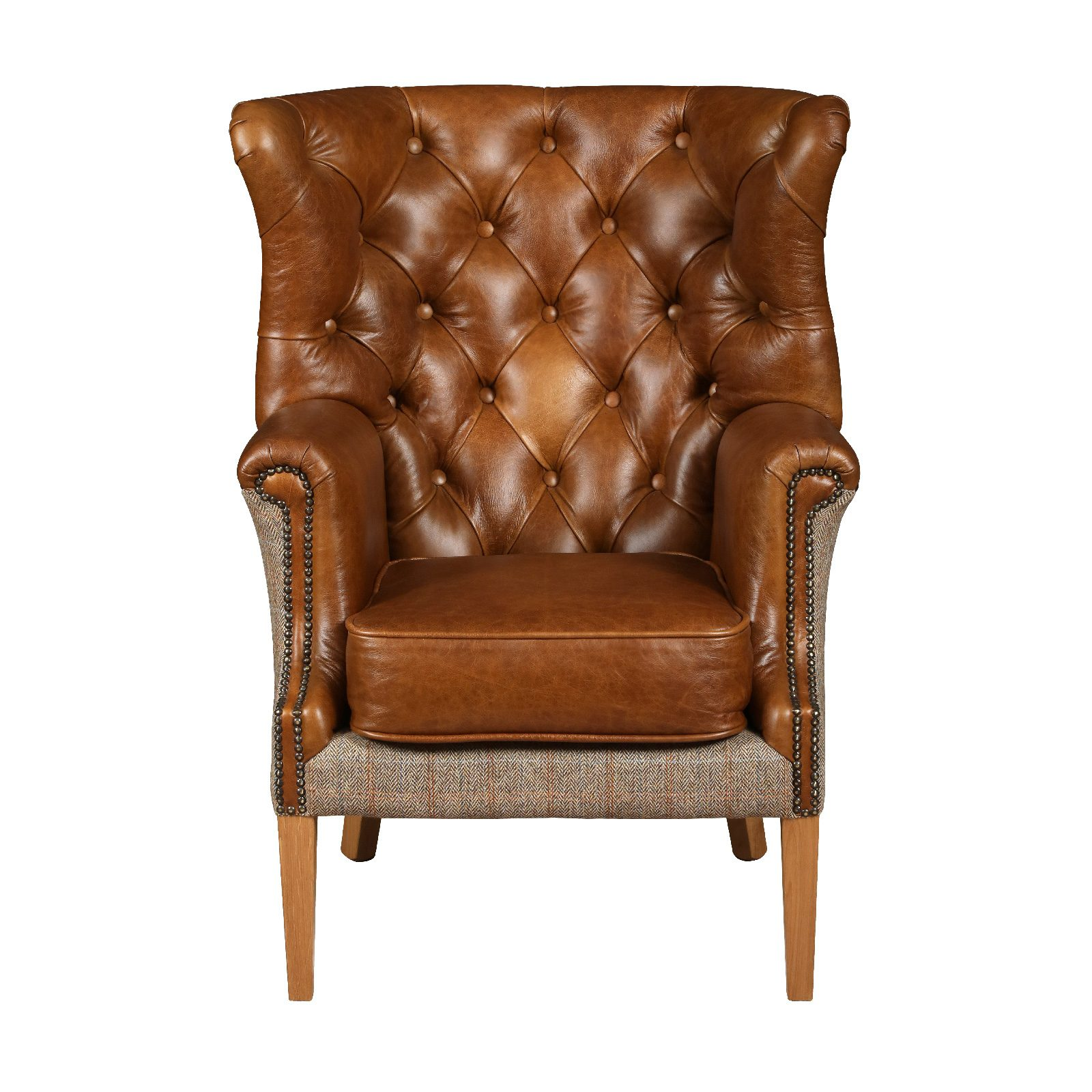 Winchester chair leather harris tweed V2