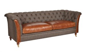granby 3 seater sofa harris tweed and cerato leather seat cushions V2